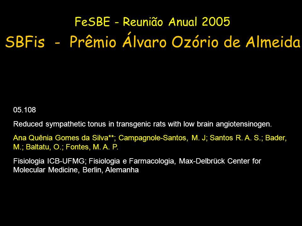 FeSBE - Reunião Anual 2005 SBFis - Prêmio Álvaro Ozório de Almeida 05.108 Reduced sympathetic tonus in transgenic rats with low brain angiotensinogen.