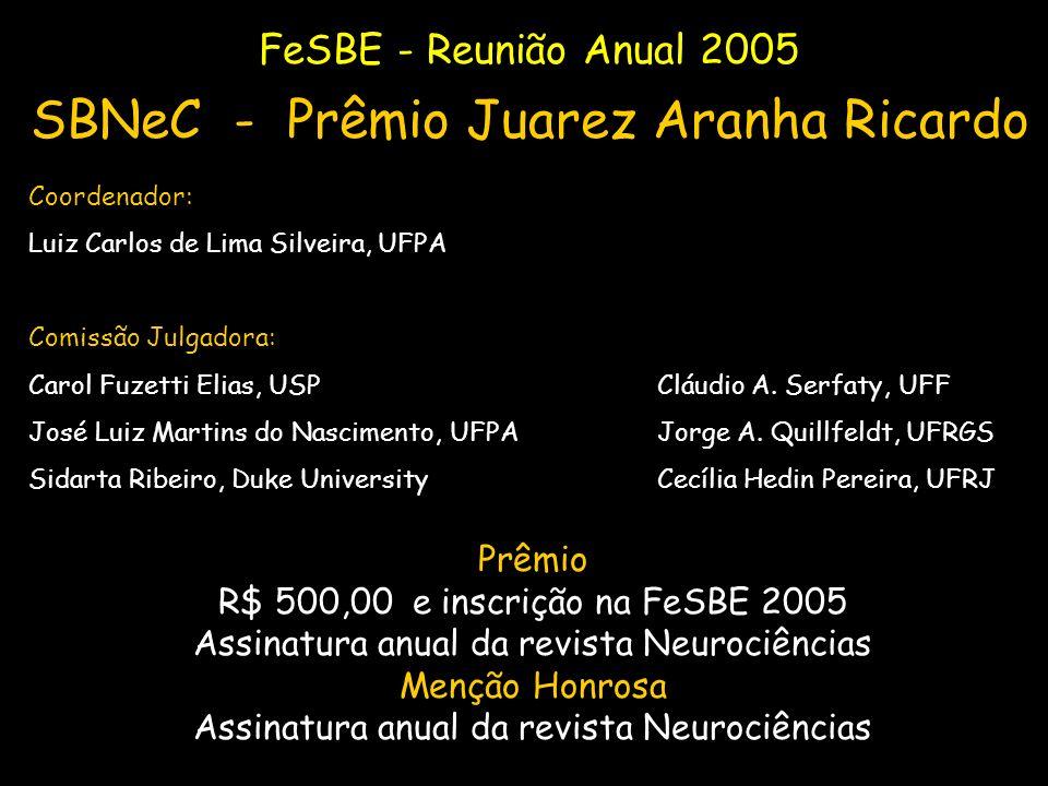 FeSBE - Reunião Anual 2005 SBNeC - Prêmio Juarez Aranha Ricardo Coordenador: Luiz Carlos de Lima Silveira, UFPA Comissão Julgadora: Carol Fuzetti Elia