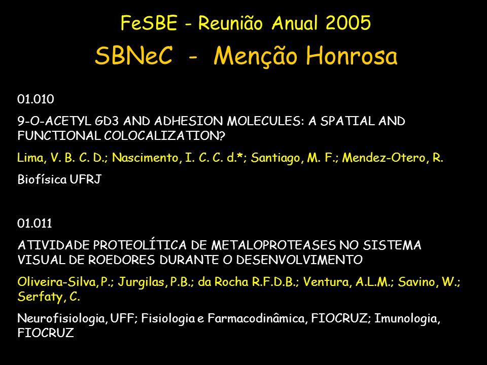 FeSBE - Reunião Anual 2005 SBNeC - Menção Honrosa 01.010 9-O-ACETYL GD3 AND ADHESION MOLECULES: A SPATIAL AND FUNCTIONAL COLOCALIZATION? Lima, V. B. C