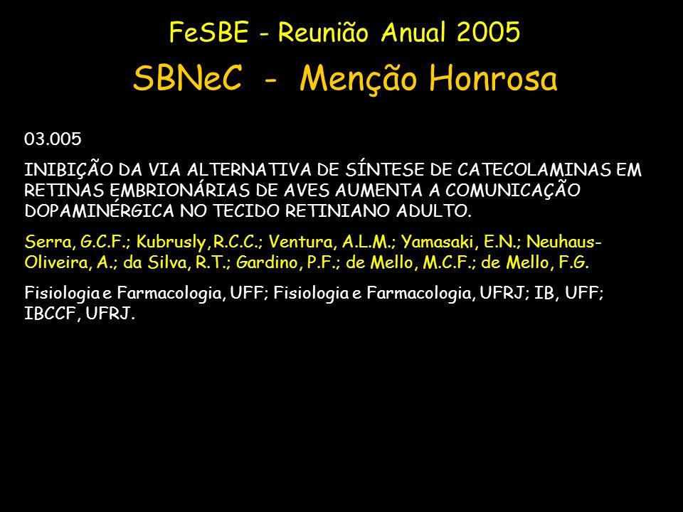 FeSBE - Reunião Anual 2005 SBNeC - Menção Honrosa 03.005 INIBIÇÃO DA VIA ALTERNATIVA DE SÍNTESE DE CATECOLAMINAS EM RETINAS EMBRIONÁRIAS DE AVES AUMEN