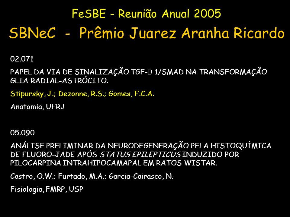 FeSBE - Reunião Anual 2005 SBNeC - Prêmio Juarez Aranha Ricardo 02.071 PAPEL DA VIA DE SINALIZAÇÃO TGF- 1/SMAD NA TRANSFORMAÇÃO GLIA RADIAL-ASTRÓCITO.