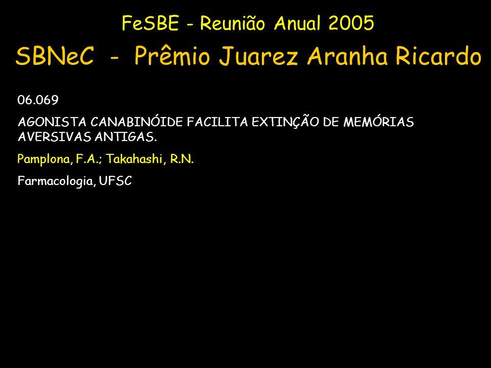 FeSBE - Reunião Anual 2005 SBNeC - Prêmio Juarez Aranha Ricardo 06.069 AGONISTA CANABINÓIDE FACILITA EXTINÇÃO DE MEMÓRIAS AVERSIVAS ANTIGAS. Pamplona,