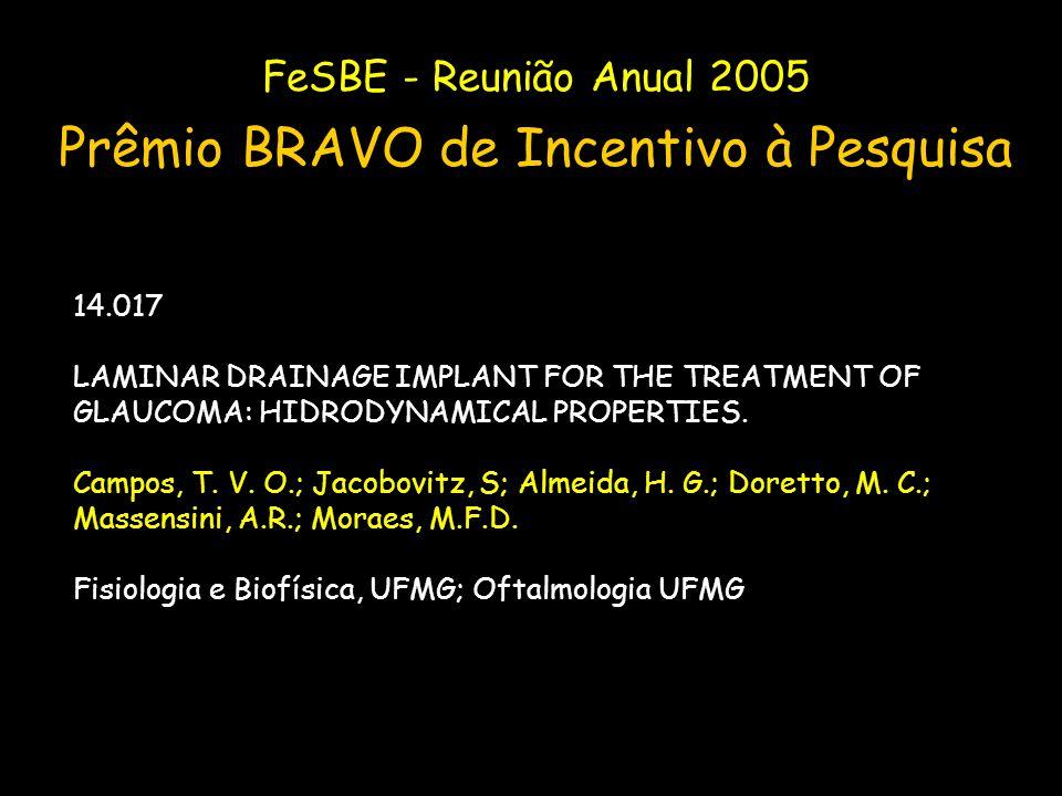 FeSBE - Reunião Anual 2005 Prêmio BRAVO de Incentivo à Pesquisa 14.017 LAMINAR DRAINAGE IMPLANT FOR THE TREATMENT OF GLAUCOMA: HIDRODYNAMICAL PROPERTI