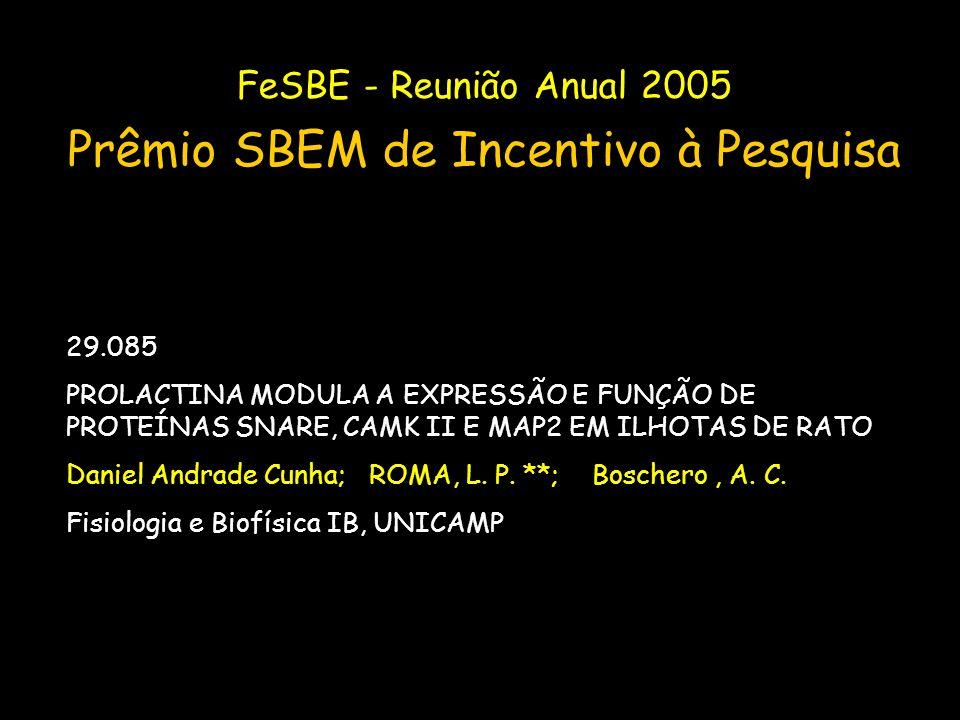 FeSBE - Reunião Anual 2005 Prêmio SBEM de Incentivo à Pesquisa 29.085 PROLACTINA MODULA A EXPRESSÃO E FUNÇÃO DE PROTEÍNAS SNARE, CAMK II E MAP2 EM ILH