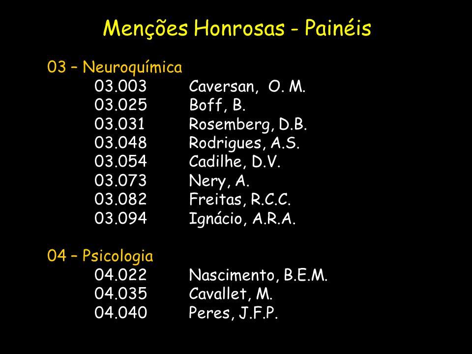 03 – Neuroquímica 03.003Caversan, O. M. 03.025Boff, B. 03.031Rosemberg, D.B. 03.048Rodrigues, A.S. 03.054Cadilhe, D.V. 03.073Nery, A. 03.082Freitas, R