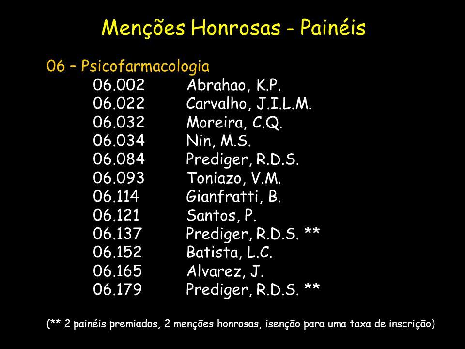 06 – Psicofarmacologia 06.002Abrahao, K.P. 06.022Carvalho, J.I.L.M. 06.032Moreira, C.Q. 06.034Nin, M.S. 06.084Prediger, R.D.S. 06.093Toniazo, V.M. 06.