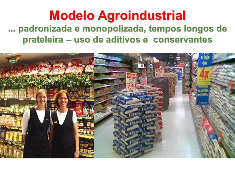 Modelo Agroindustrial... padronizada e monopolizada, tempos longos de prateleira – uso de aditivos e conservantes