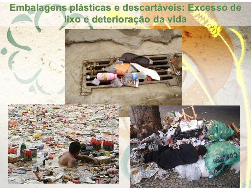 Embalagens plásticas e descartáveis: Excesso de lixo e deterioração da vida