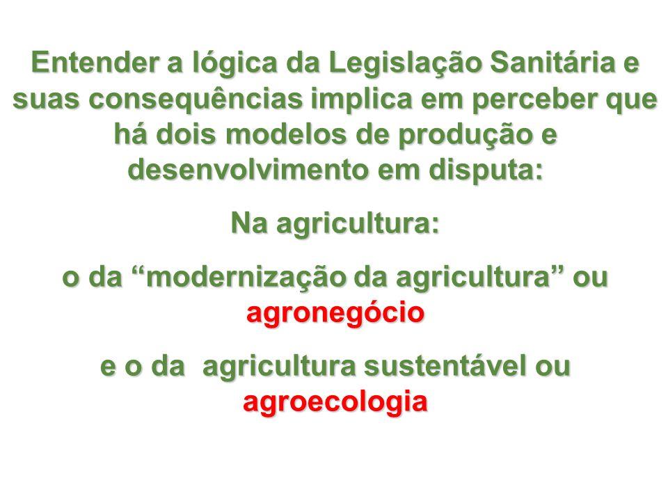 Entender a lógica da Legislação Sanitária e suas consequências implica em perceber que há dois modelos de produção e desenvolvimento em disputa: Na ag