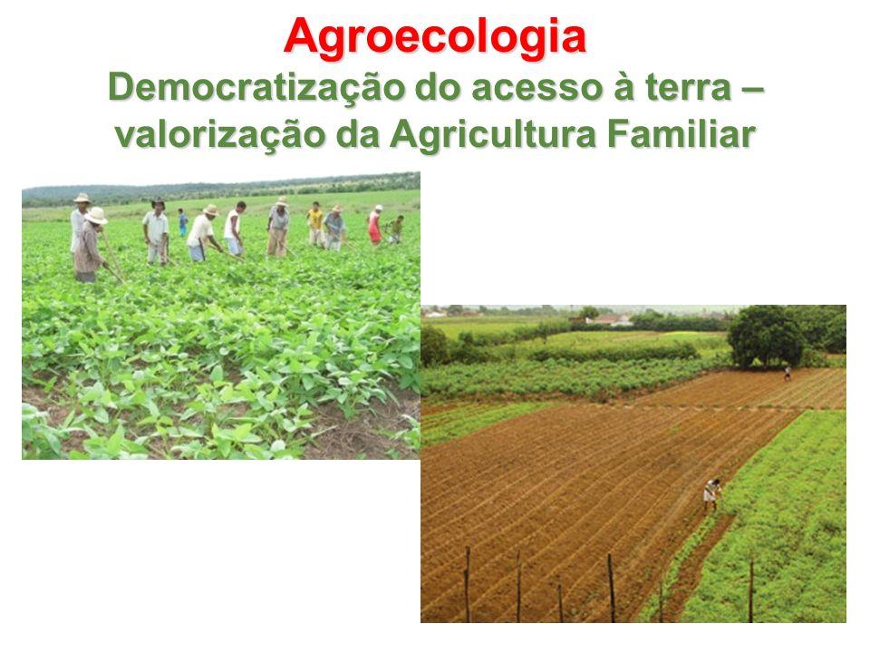 Agroecologia Democratização do acesso à terra – valorização da Agricultura Familiar