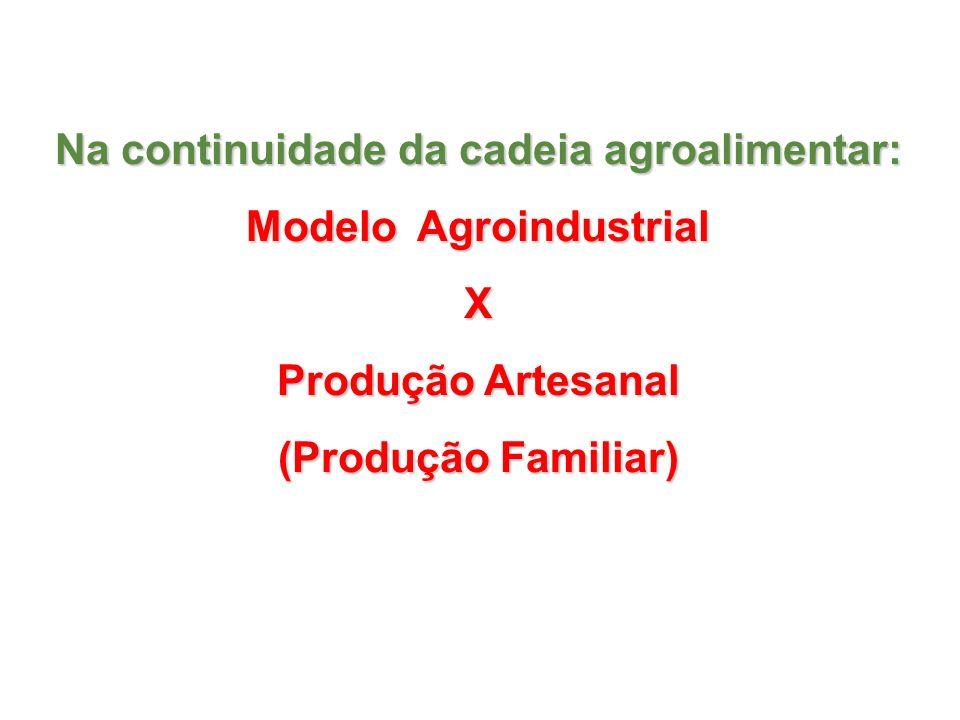 Na continuidade da cadeia agroalimentar: Modelo Agroindustrial X Produção Artesanal (Produção Familiar)
