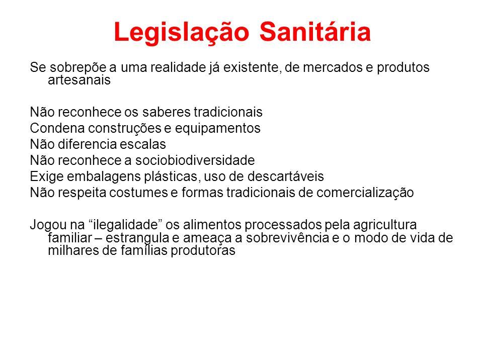 Legislação Sanitária Se sobrepõe a uma realidade já existente, de mercados e produtos artesanais Não reconhece os saberes tradicionais Condena constru