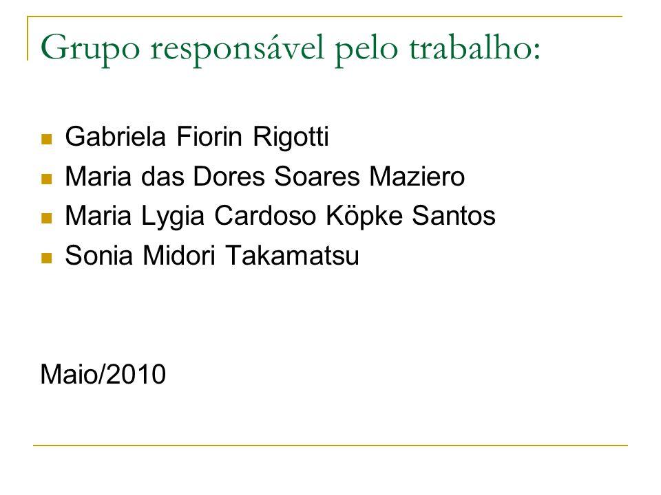Grupo responsável pelo trabalho: Gabriela Fiorin Rigotti Maria das Dores Soares Maziero Maria Lygia Cardoso Köpke Santos Sonia Midori Takamatsu Maio/2010