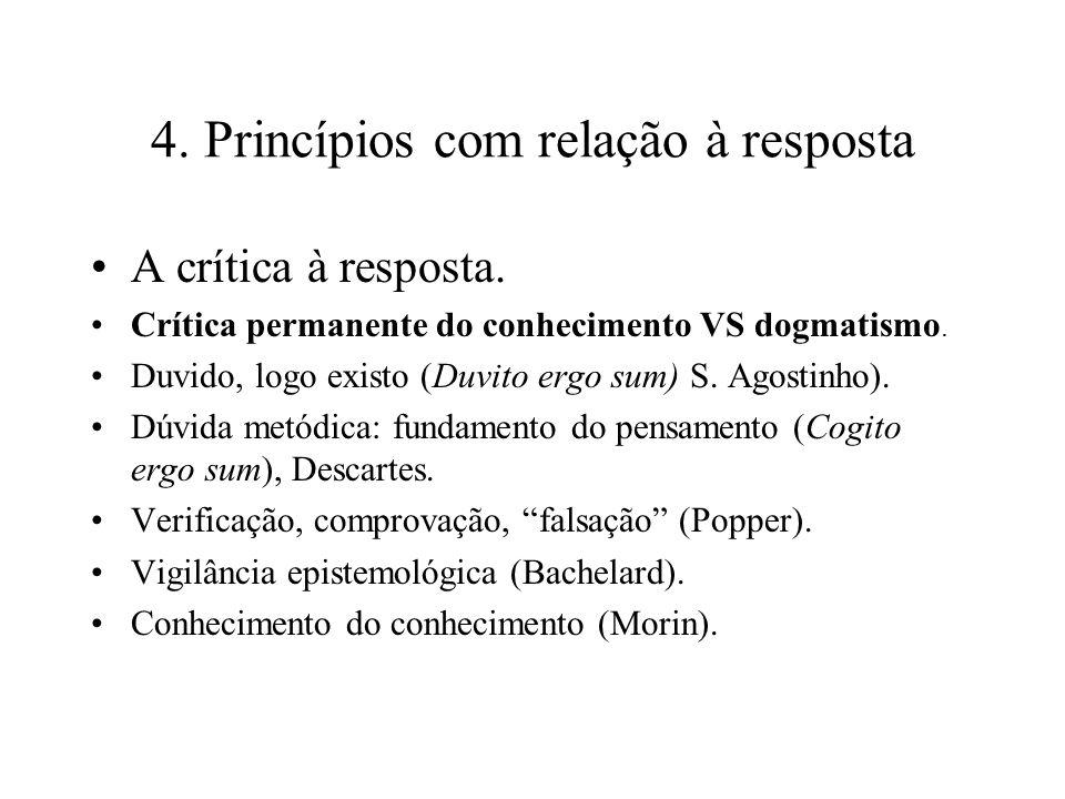 4. Princípios com relação à resposta A crítica à resposta. Crítica permanente do conhecimento VS dogmatismo. Duvido, logo existo (Duvito ergo sum) S.