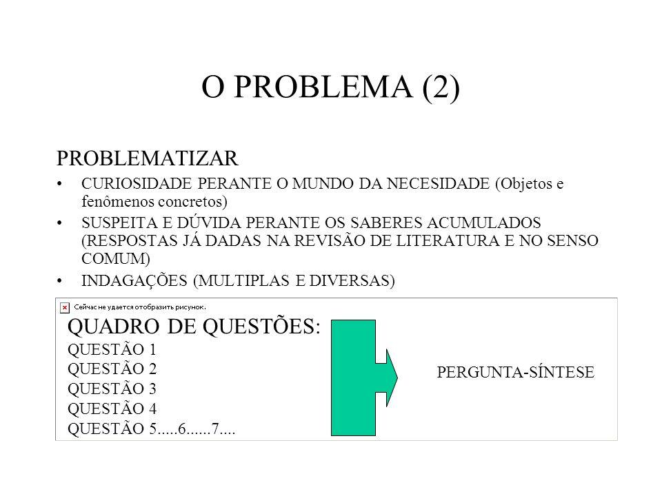 O PROBLEMA (2) PROBLEMATIZAR CURIOSIDADE PERANTE O MUNDO DA NECESIDADE (Objetos e fenômenos concretos) SUSPEITA E DÚVIDA PERANTE OS SABERES ACUMULADOS