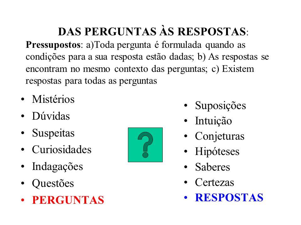 DAS PERGUNTAS ÀS RESPOSTAS : Pressupostos: a)Toda pergunta é formulada quando as condições para a sua resposta estão dadas; b) As respostas se encontr