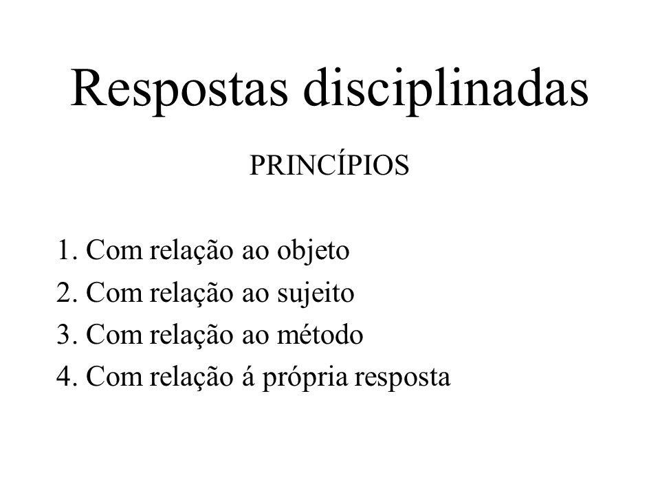 Respostas disciplinadas PRINCÍPIOS 1. Com relação ao objeto 2. Com relação ao sujeito 3. Com relação ao método 4. Com relação á própria resposta