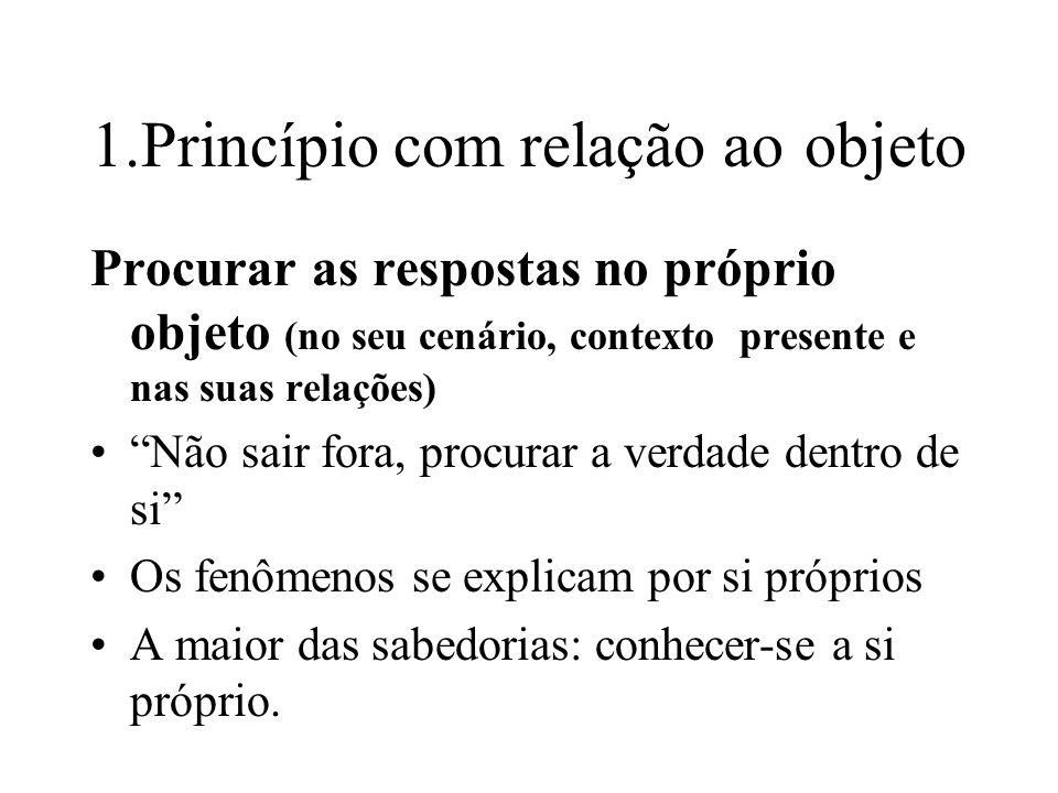 1.Princípio com relação ao objeto Procurar as respostas no próprio objeto (no seu cenário, contexto presente e nas suas relações) Não sair fora, procu