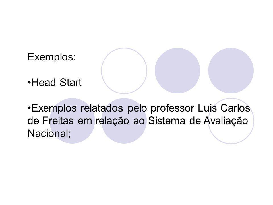 Exemplos: Head Start Exemplos relatados pelo professor Luis Carlos de Freitas em relação ao Sistema de Avaliação Nacional;