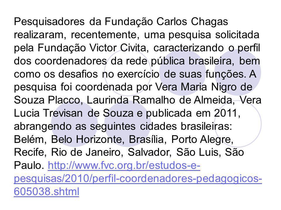Pesquisadores da Fundação Carlos Chagas realizaram, recentemente, uma pesquisa solicitada pela Fundação Victor Civita, caracterizando o perfil dos coo