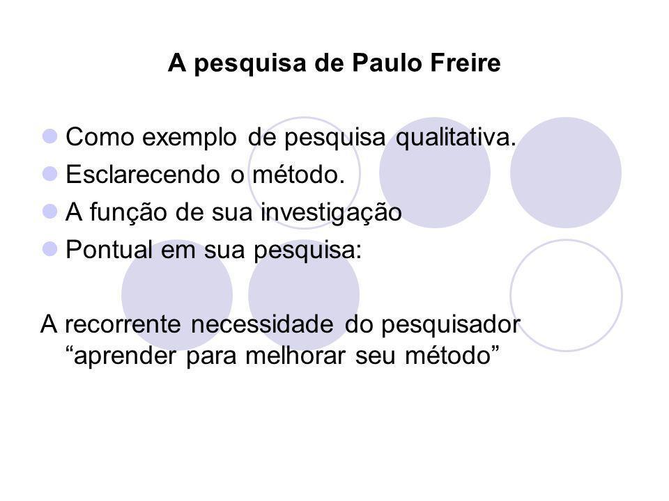 A pesquisa de Paulo Freire Como exemplo de pesquisa qualitativa. Esclarecendo o método. A função de sua investigação Pontual em sua pesquisa: A recorr