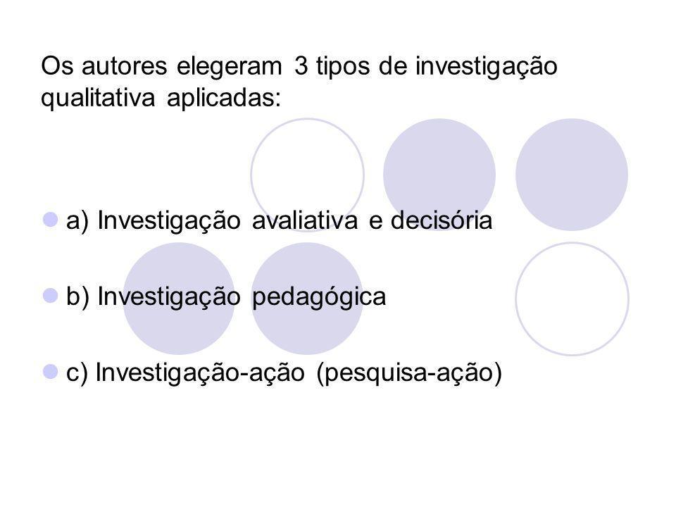Os autores elegeram 3 tipos de investigação qualitativa aplicadas: a) Investigação avaliativa e decisória b) Investigação pedagógica c) Investigação-a