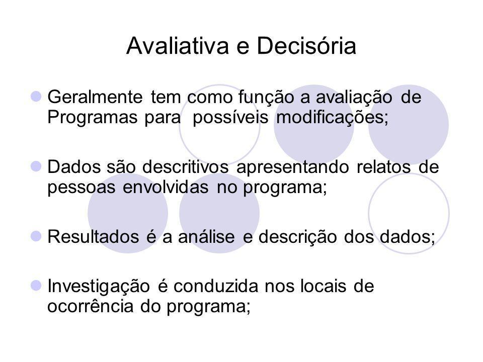 Avaliativa e Decisória Geralmente tem como função a avaliação de Programas para possíveis modificações; Dados são descritivos apresentando relatos de