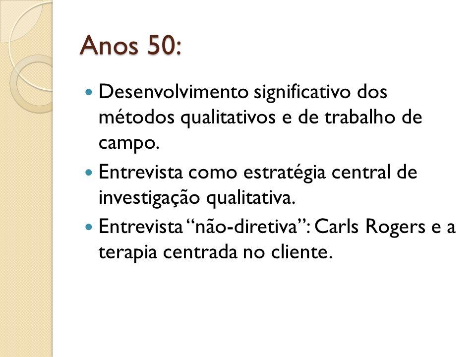 Anos 50: Desenvolvimento significativo dos métodos qualitativos e de trabalho de campo. Entrevista como estratégia central de investigação qualitativa