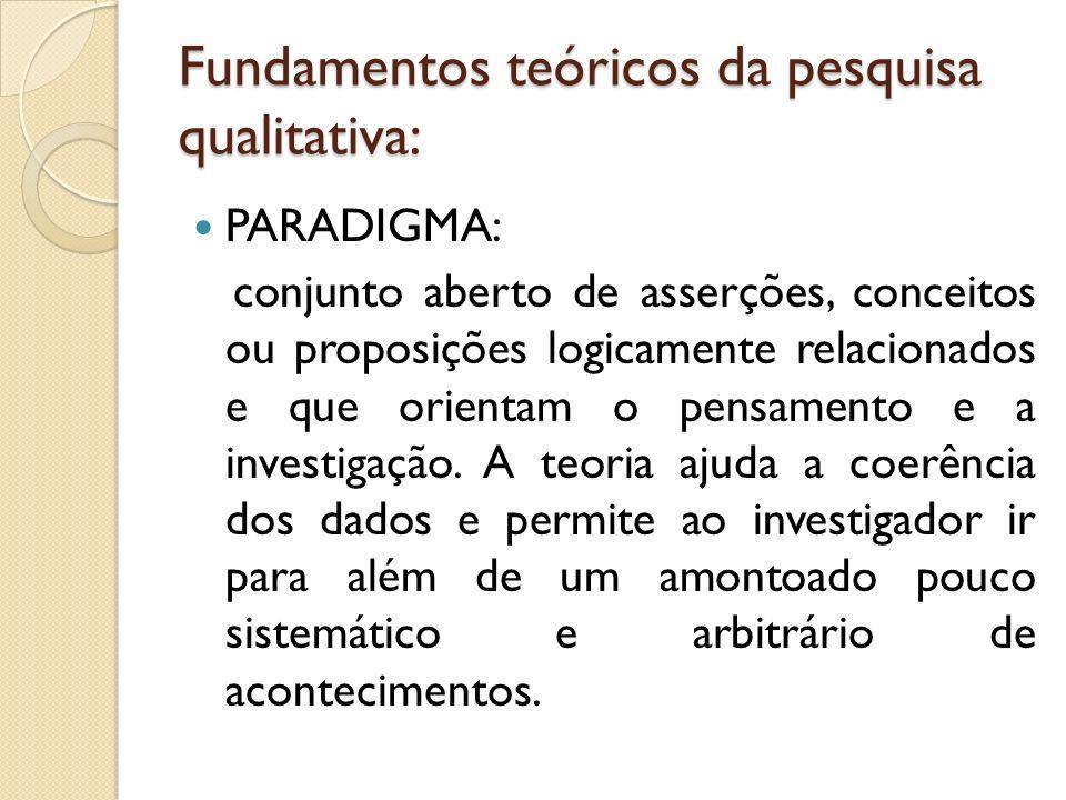 Fundamentos teóricos da pesquisa qualitativa: PARADIGMA: conjunto aberto de asserções, conceitos ou proposições logicamente relacionados e que orienta