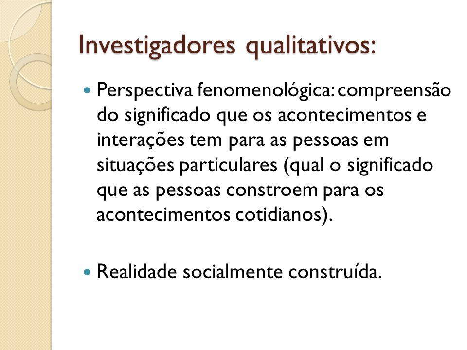 Investigadores qualitativos: Perspectiva fenomenológica: compreensão do significado que os acontecimentos e interações tem para as pessoas em situaçõe