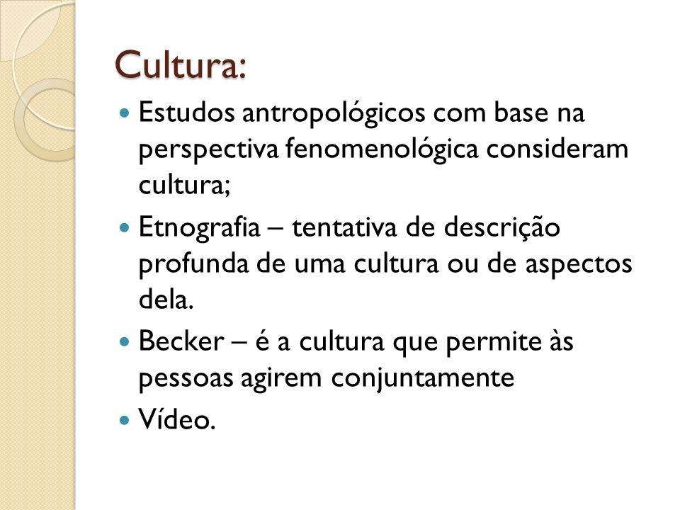 Cultura: Estudos antropológicos com base na perspectiva fenomenológica consideram cultura; Etnografia – tentativa de descrição profunda de uma cultura