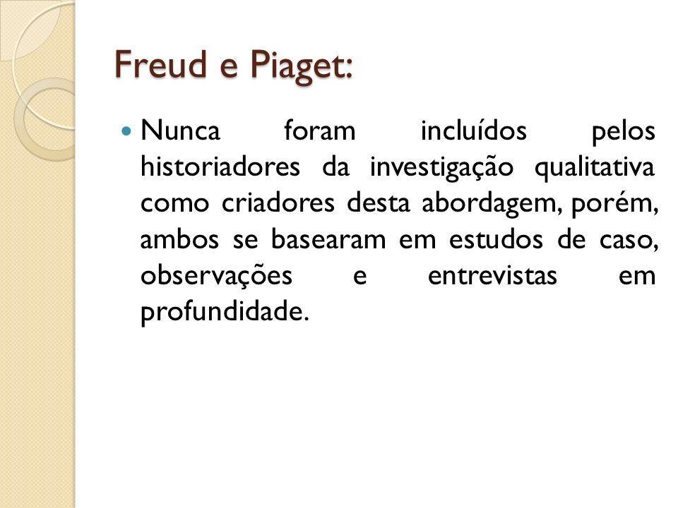 Freud e Piaget: Nunca foram incluídos pelos historiadores da investigação qualitativa como criadores desta abordagem, porém, ambos se basearam em estu