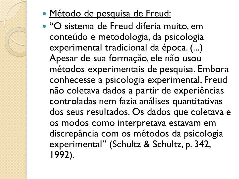 Método de pesquisa de Freud: O sistema de Freud diferia muito, em conteúdo e metodologia, da psicologia experimental tradicional da época. (...) Apesa