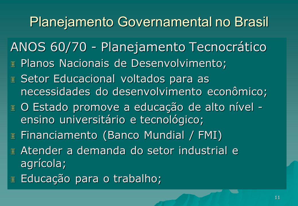 11 Planejamento Governamental no Brasil ANOS 60/70 - Planejamento Tecnocrático 3 Planos Nacionais de Desenvolvimento; 3 Setor Educacional voltados par
