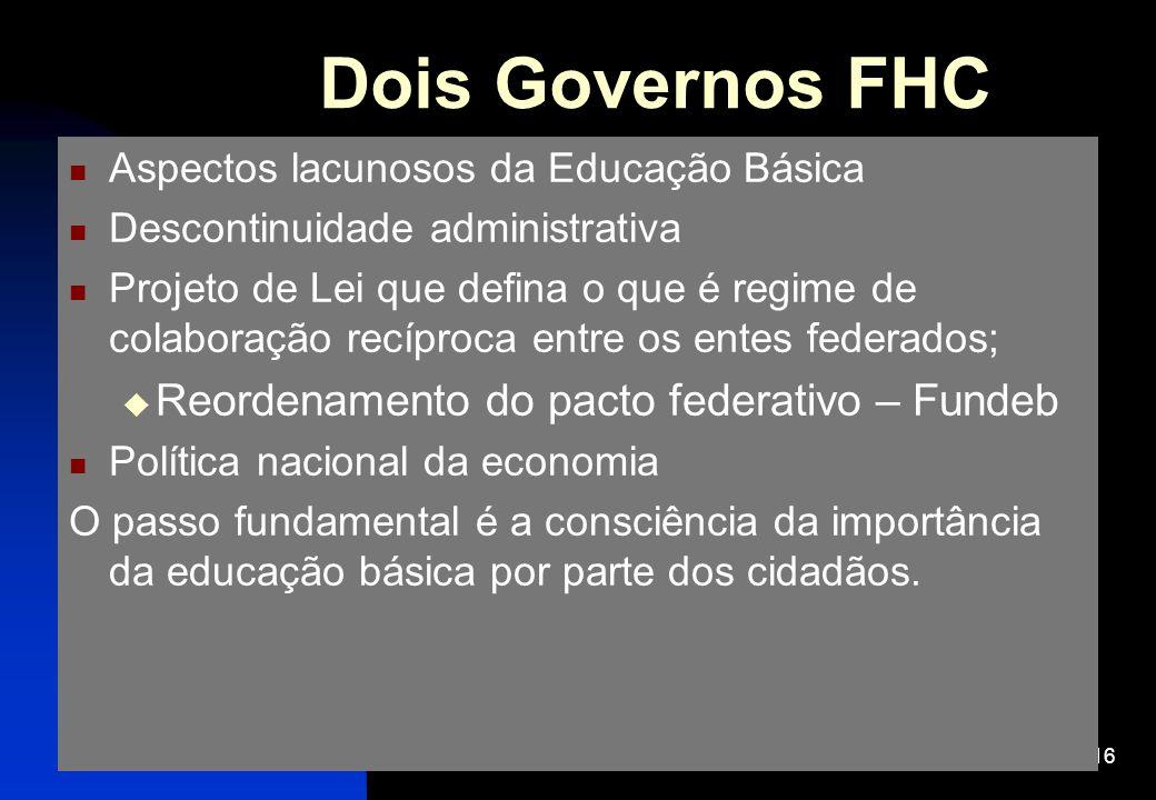 16 Dois Governos FHC Aspectos lacunosos da Educação Básica Descontinuidade administrativa Projeto de Lei que defina o que é regime de colaboração recí
