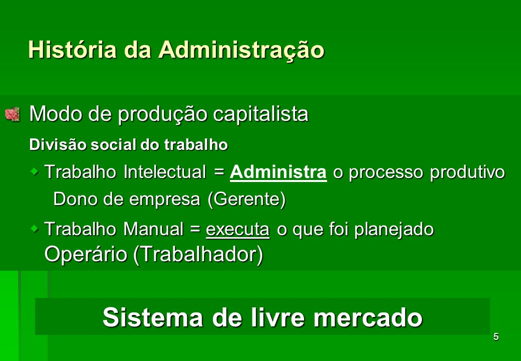 5 História da Administração Modo de produção capitalista Modo de produção capitalista Divisão social do trabalho wTrabalho Intelectual = o processo pr