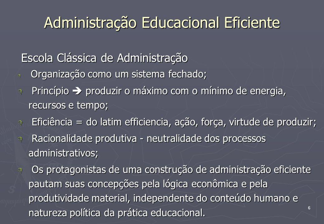 6 Administração Educacional Eficiente Escola Clássica de Administração Escola Clássica de Administração D Organização como um sistema fechado; D Princ