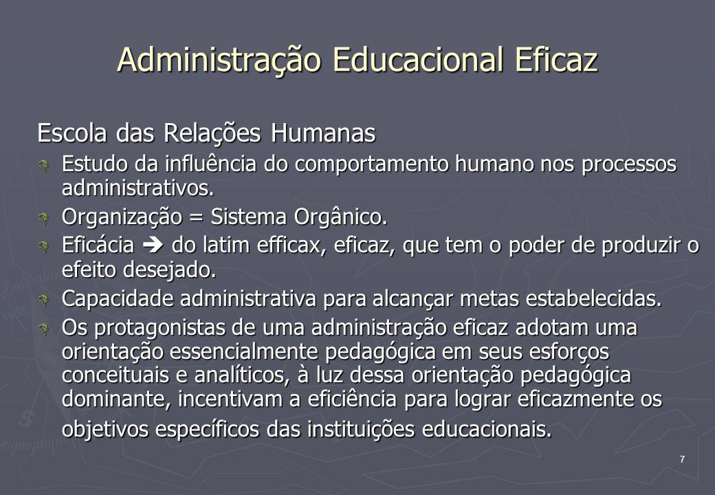 7 Administração Educacional Eficaz Escola das Relações Humanas D Estudo da influência do comportamento humano nos processos administrativos. D Organiz