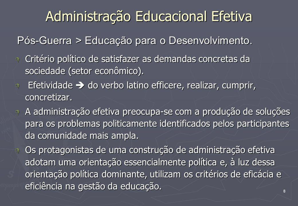 8 Administração Educacional Efetiva D Critério político de satisfazer as demandas concretas da sociedade (setor econômico). D Efetividade do verbo lat