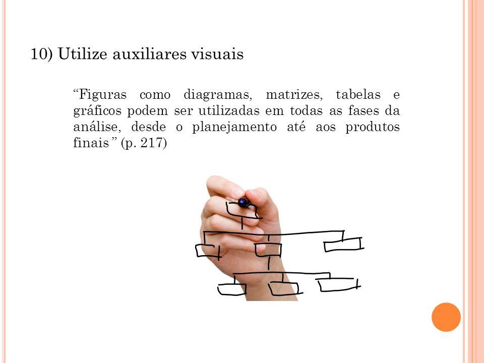 10) Utilize auxiliares visuais Figuras como diagramas, matrizes, tabelas e gráficos podem ser utilizadas em todas as fases da análise, desde o planeja