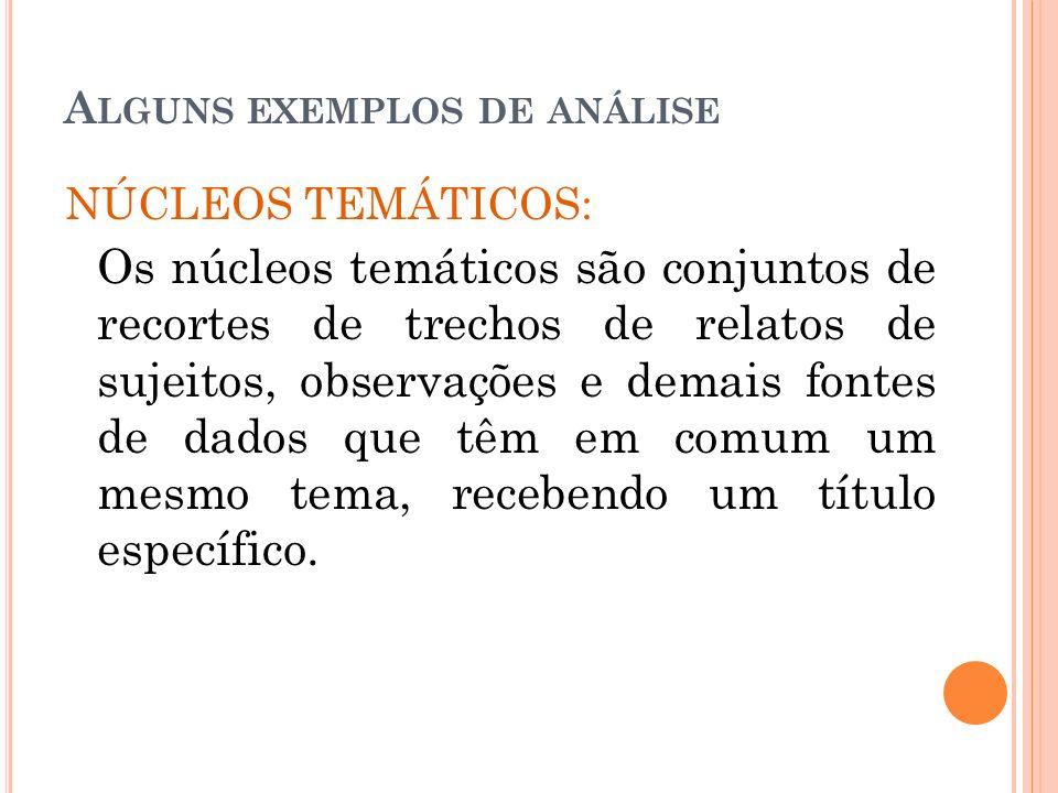 A LGUNS EXEMPLOS DE ANÁLISE NÚCLEOS TEMÁTICOS: Os núcleos temáticos são conjuntos de recortes de trechos de relatos de sujeitos, observações e demais
