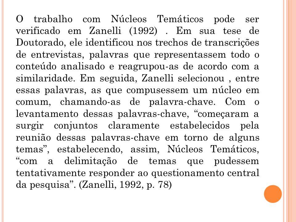 O trabalho com Núcleos Temáticos pode ser verificado em Zanelli (1992). Em sua tese de Doutorado, ele identificou nos trechos de transcrições de entre