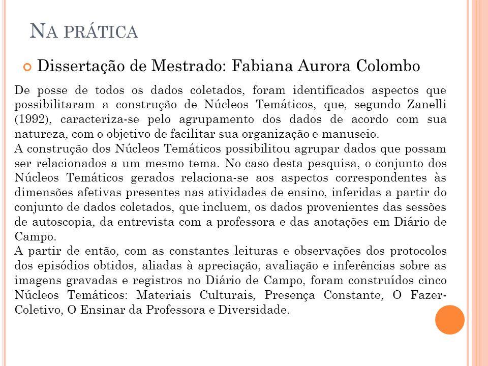 N A PRÁTICA Dissertação de Mestrado: Fabiana Aurora Colombo De posse de todos os dados coletados, foram identificados aspectos que possibilitaram a co