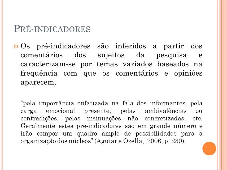 P RÉ - INDICADORES Os pré-indicadores são inferidos a partir dos comentários dos sujeitos da pesquisa e caracterizam-se por temas variados baseados na