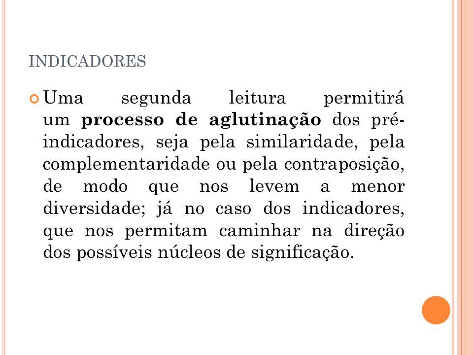 INDICADORES Uma segunda leitura permitirá um processo de aglutinação dos pré- indicadores, seja pela similaridade, pela complementaridade ou pela cont