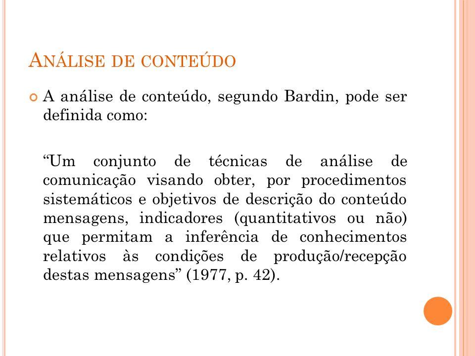 A NÁLISE DE CONTEÚDO A análise de conteúdo, segundo Bardin, pode ser definida como: Um conjunto de técnicas de análise de comunicação visando obter, p