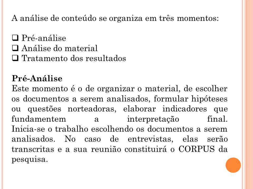 A análise de conteúdo se organiza em três momentos: Pré-análise Análise do material Tratamento dos resultados Pré-Análise Este momento é o de organiza