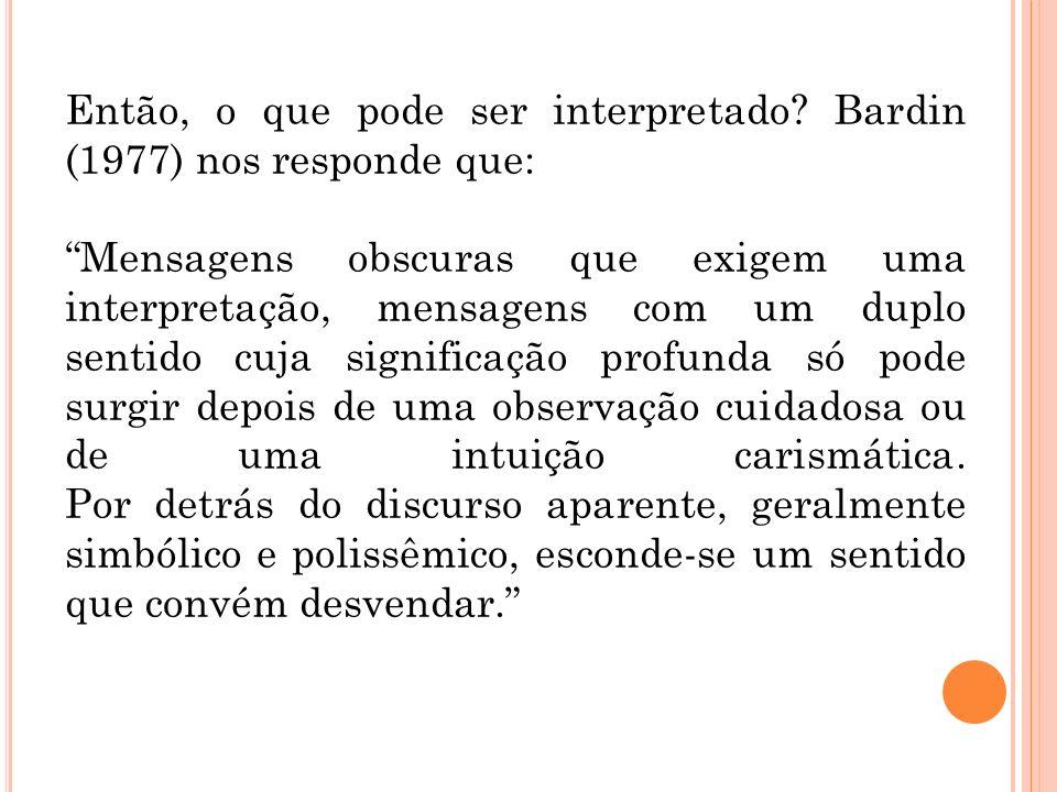 Então, o que pode ser interpretado? Bardin (1977) nos responde que: Mensagens obscuras que exigem uma interpretação, mensagens com um duplo sentido cu