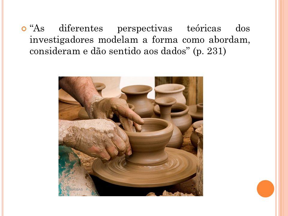 As diferentes perspectivas teóricas dos investigadores modelam a forma como abordam, consideram e dão sentido aos dados (p. 231)