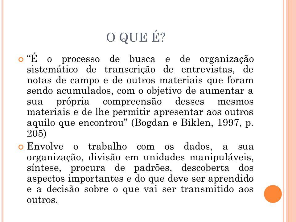 O QUE É? É o processo de busca e de organização sistemático de transcrição de entrevistas, de notas de campo e de outros materiais que foram sendo acu